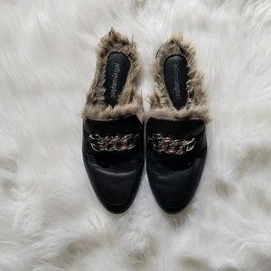 Jeffrey Campbell black faux fur mule slides 8.5